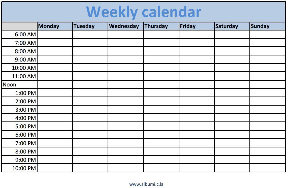 Weekly Calendar In Excel : Blank calendar en albumi c la