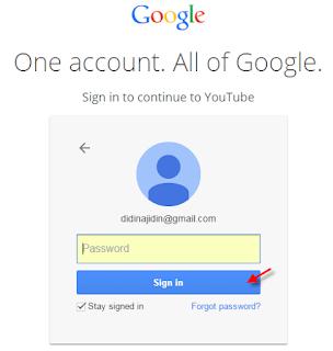 login atau signup untuk masuk ke halaman utama youtube