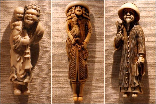 Tres figuritas japonesas netsuke en el British Museum, Museo Britanico en Londres
