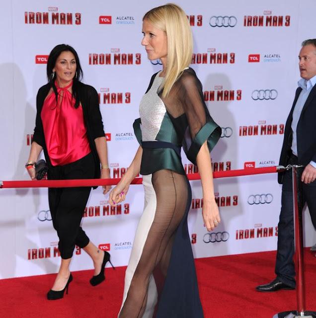Paltrow presque nue sous sa robe à la première d iron man 3 photos