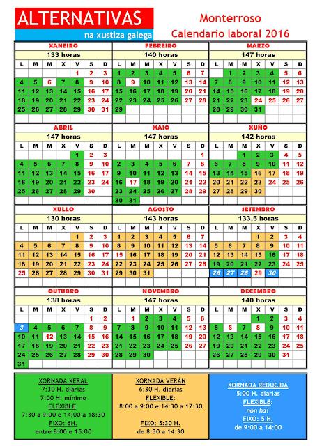 Monterroso. Calendario laboral 2016