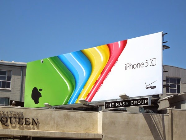 Multi-coloured iPhone 5c fan effect billboard