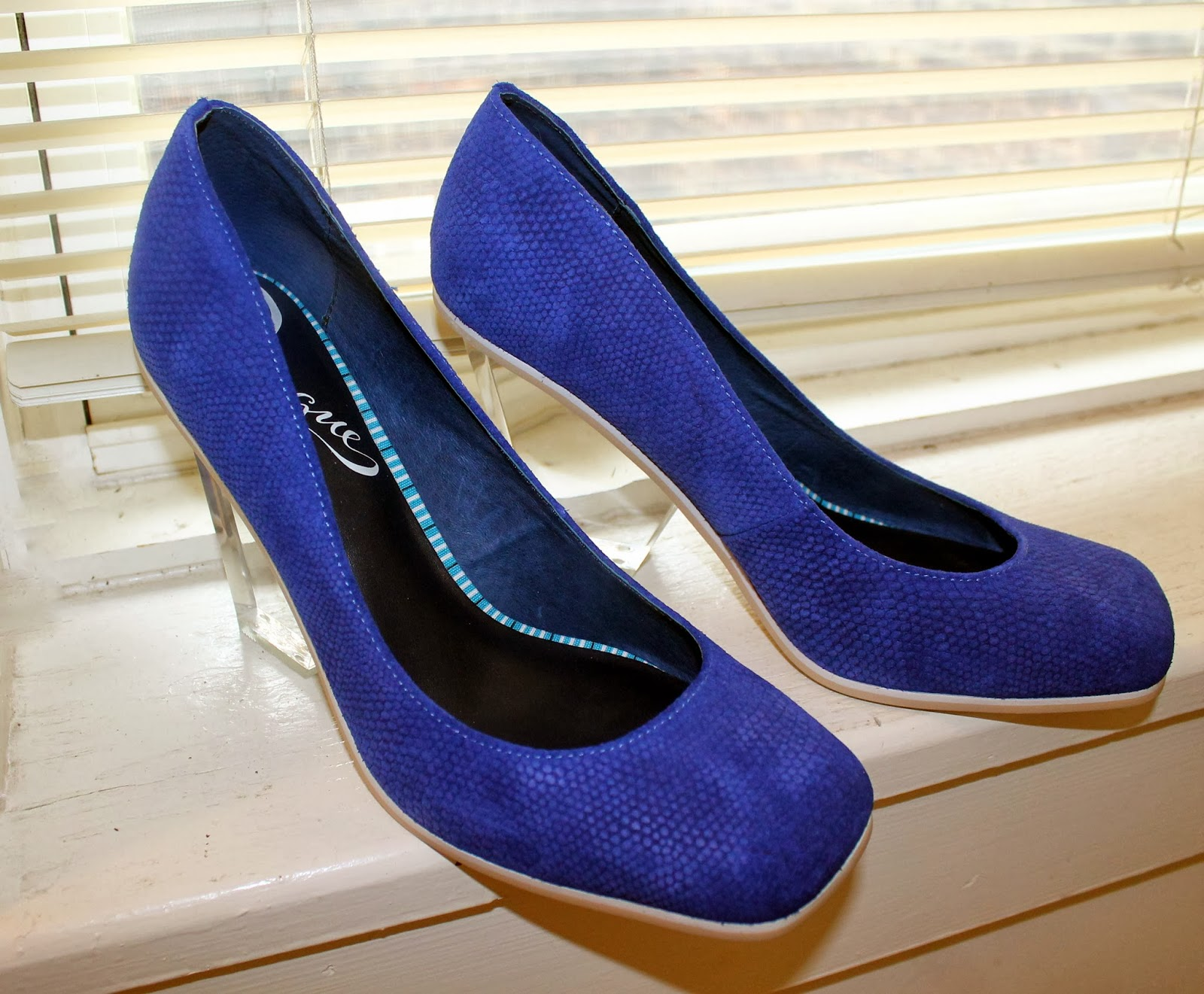 cobalt blue acrylic heel pumps
