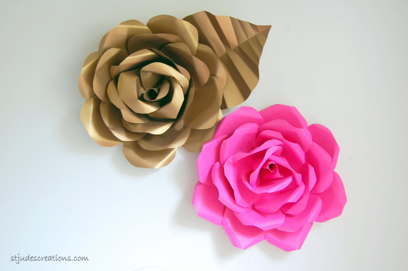 Pottery barn girls room paper flowers brianna bedding handmade paper flower hot pink and gold mightylinksfo