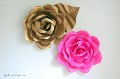 paper flower hot pink and gold