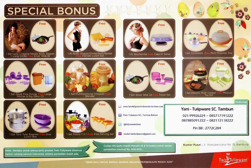 Promo Tulipware Tupperware Maret - April 2014 | Special Bonus Hadiah