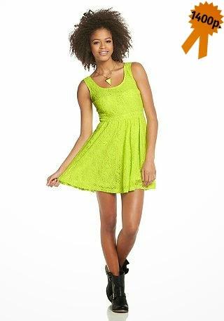 Кружевное платье цвета лайма AJC
