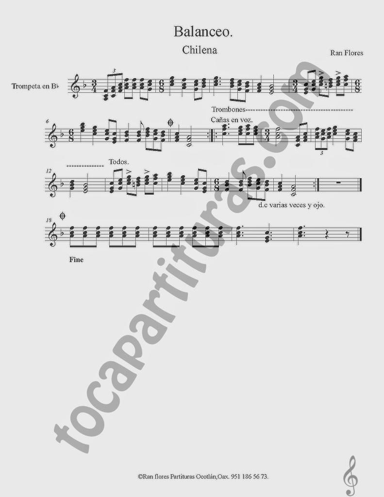 Partitura de Balanceo para Trompeta y Fliscorno en Si bemol