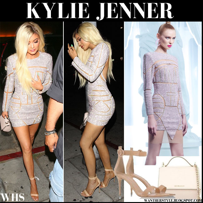 Kylie Jenner in silver embellished Nicolas Jebran mini dress what she wore birthday party