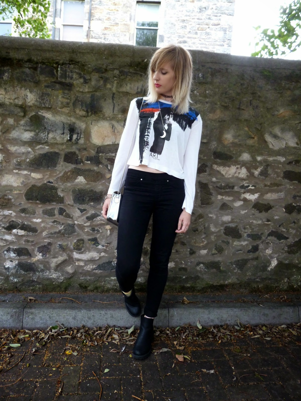 Robots Eating Roses Miss Selfridge High Waist Jeans and Zara Crop Top