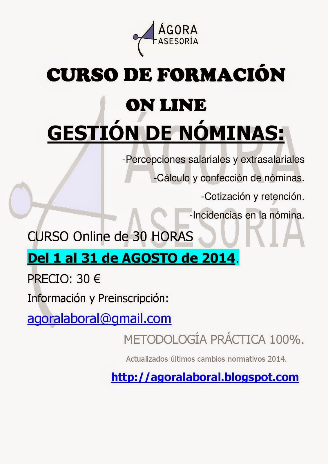 Curso Gestión de Nóminas- AGOSTO 2014