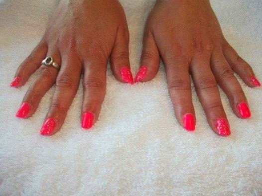 Acrylic extensions and LED polish manicure with glitz feats