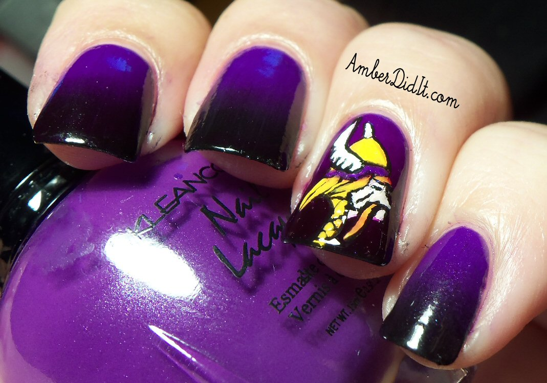 Amber Did It Nfl Nail Art Series 6 Minnesota Vikings