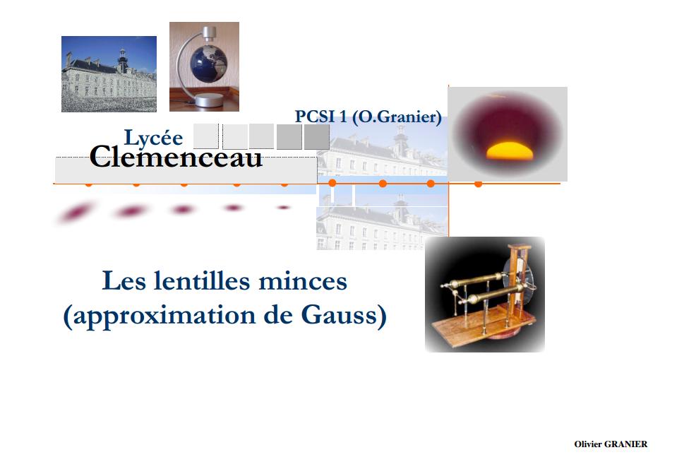 Les Lentilles minces Cours Optique Géométrique