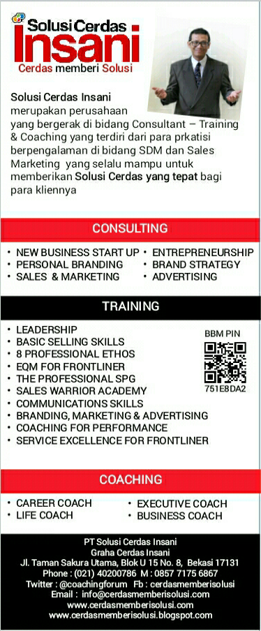IKLAN LAYANAN CONSULTANT - COACHING - TRAINING