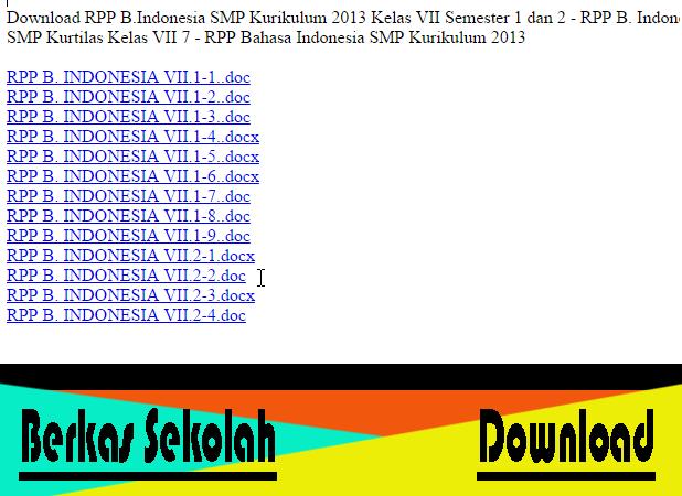 Download RPP B.Indonesia SMP Kurikulum 2013 Kelas VII Semester 1 dan 2