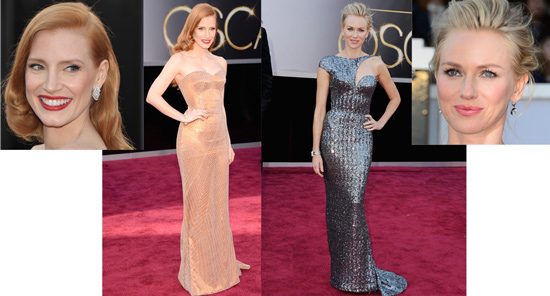 Jessica Chastain and Naomi Watts both in Giorgio Armani