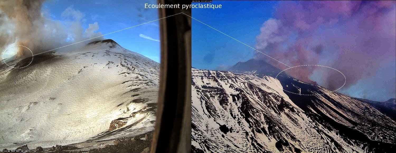 Ecoulement pyroclastique sur le volcan Etna, 30 decembre 2013