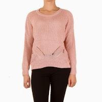 Pulover tricotat, de culoare roz, usor asimetric ( )