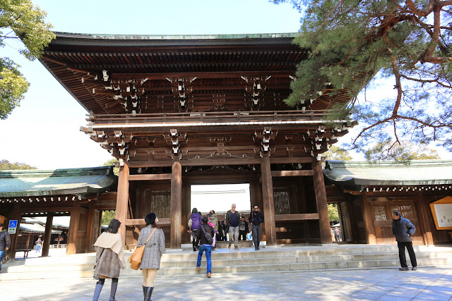 Heading to the main entrance door of the Shrine Memorial Building at Meiji Shrine in Tokyo, Japan