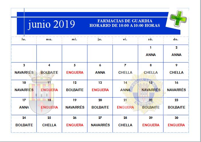 FARMACIAS DE GUARDIA MES DE JUNIO 2019