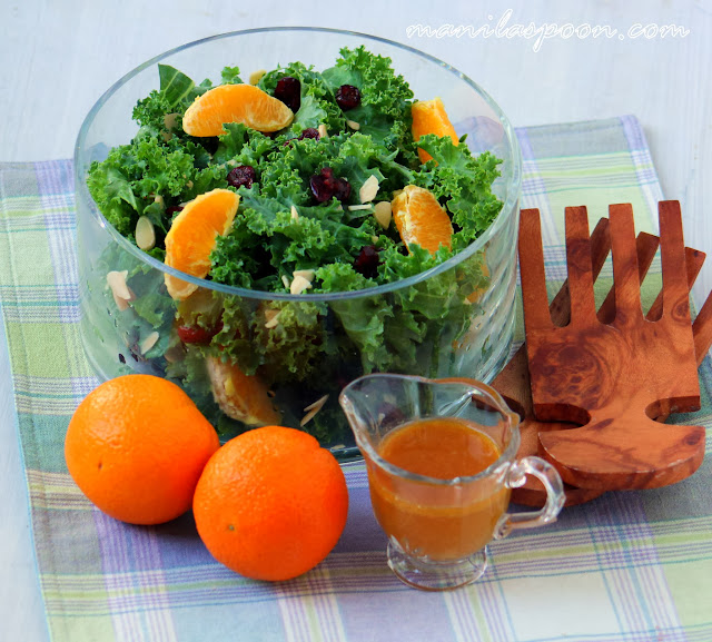 Fruity Kale Salad With Asian Vinaigrette- 17 Healthy Salads That Don't Taste Like Rabbit Food. serenabakessimplyfromscratch.com