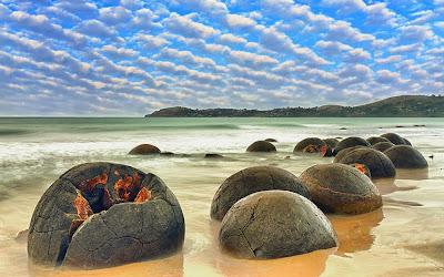 Incríveis pedregulhos de Moeraki - Nova Zelândia