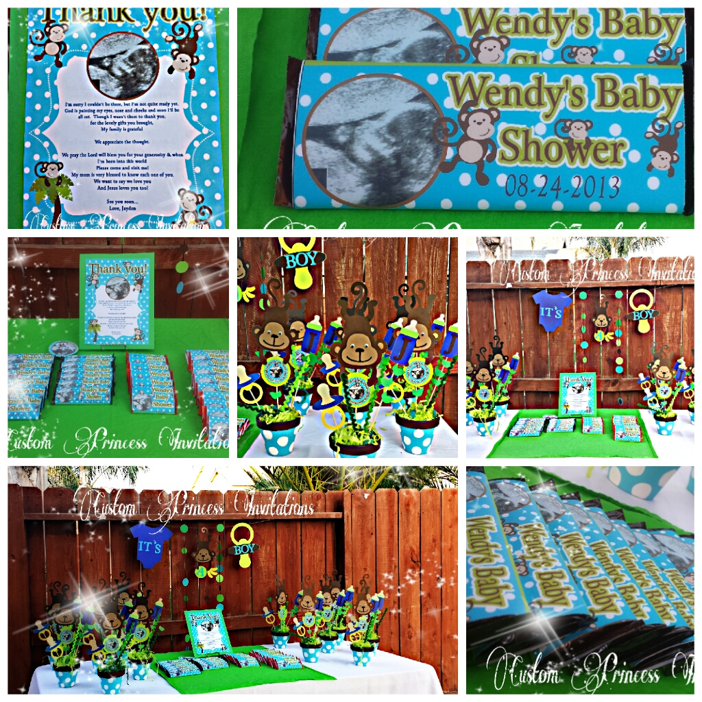 monkey baby shower theme set banner center pieces chocolate favors