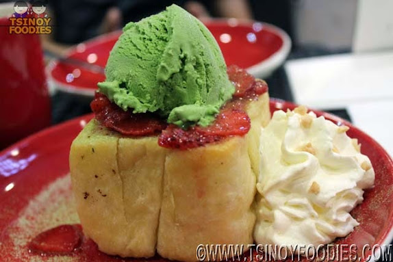 strawberry matcha toast