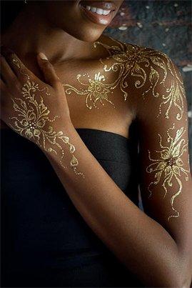 Kit de tatouage paillettes mariage argent arcahenna - Pochoir Tatouage Paillette Mariage