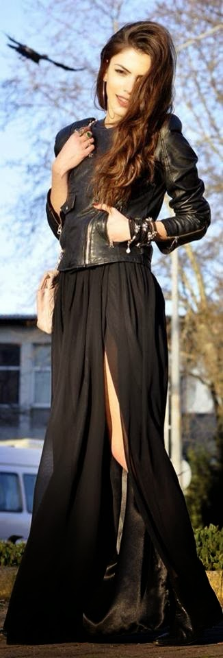 Leather Jacket and Adorable Black Dress