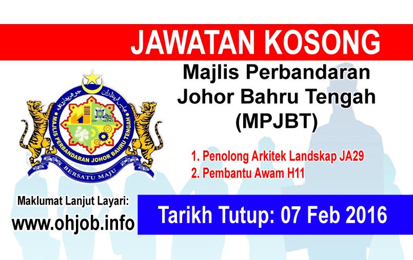 Jawatan Kerja Kosong Majlis Perbandaran Johor Bahru Tengah (MPJBT) logo www.ohjob.info februari 2016