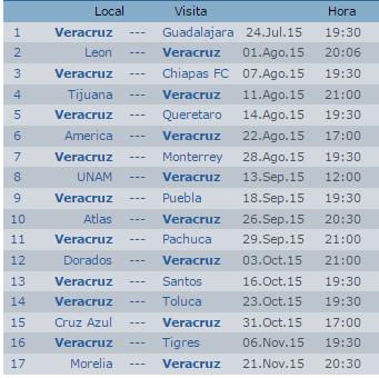 Calendario del Veracruz Apertura 2015 Futbol Mexicano