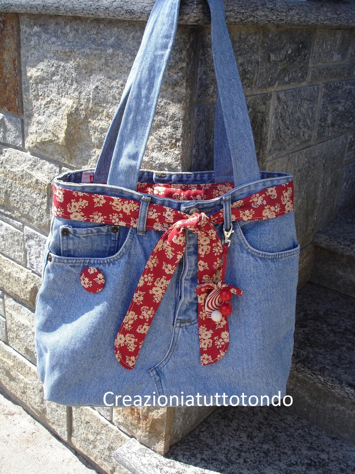 Creazioni a tutto tondo borsa di jeans for Borse fai da te jeans