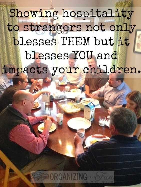 Showing hospitality to strangers not only bless THEM but it blesses YOU and impacts your children :: OrganizingMadeFun.com