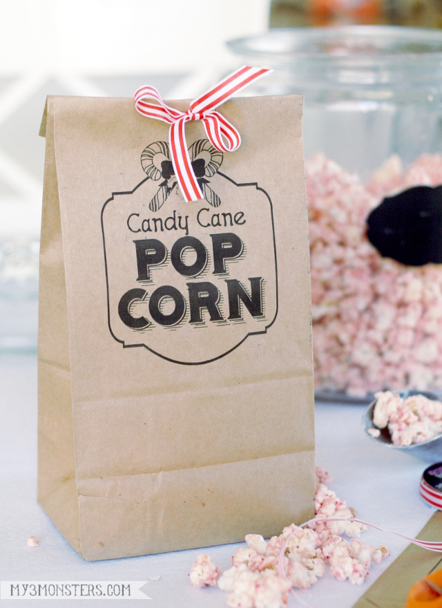 Candy Cane Popcorn -- easy neighbor gift idea and printing on paper bags tutorial at my3monsters.com