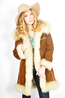 Vintage 1970's bohemian patchwork brown shearling princess coat.