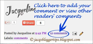 Screenshot to show how to start commenting on Blogger