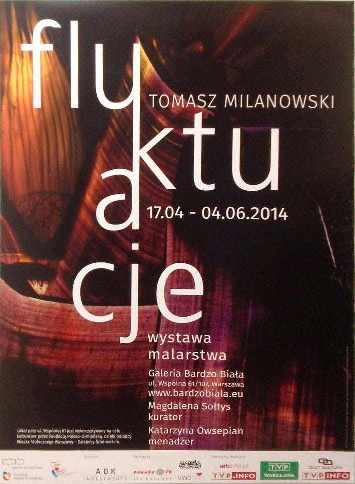 """Zaproszenie na wernisaż wystawy """"Fluktuacje"""", która miała miejsce 16 kwietnia 2014 roku w Galerii Bardzo Białej."""