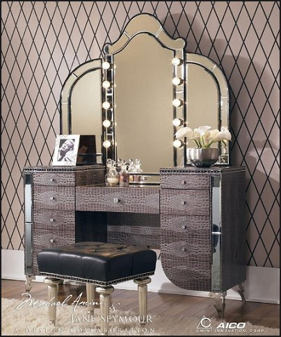 Vanity Light Mirror Set : Decorating theme bedrooms - Maries Manor: Hollywood At Home - decorating Hollywood glam style ...