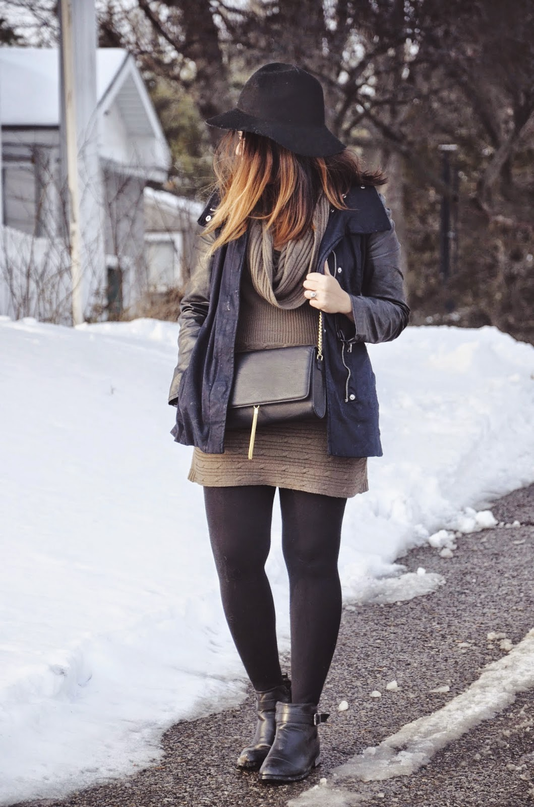 hm parka with leather sleeves, hm tassel crossbody bag, bucco ankle booties, steve madden sweater tights,