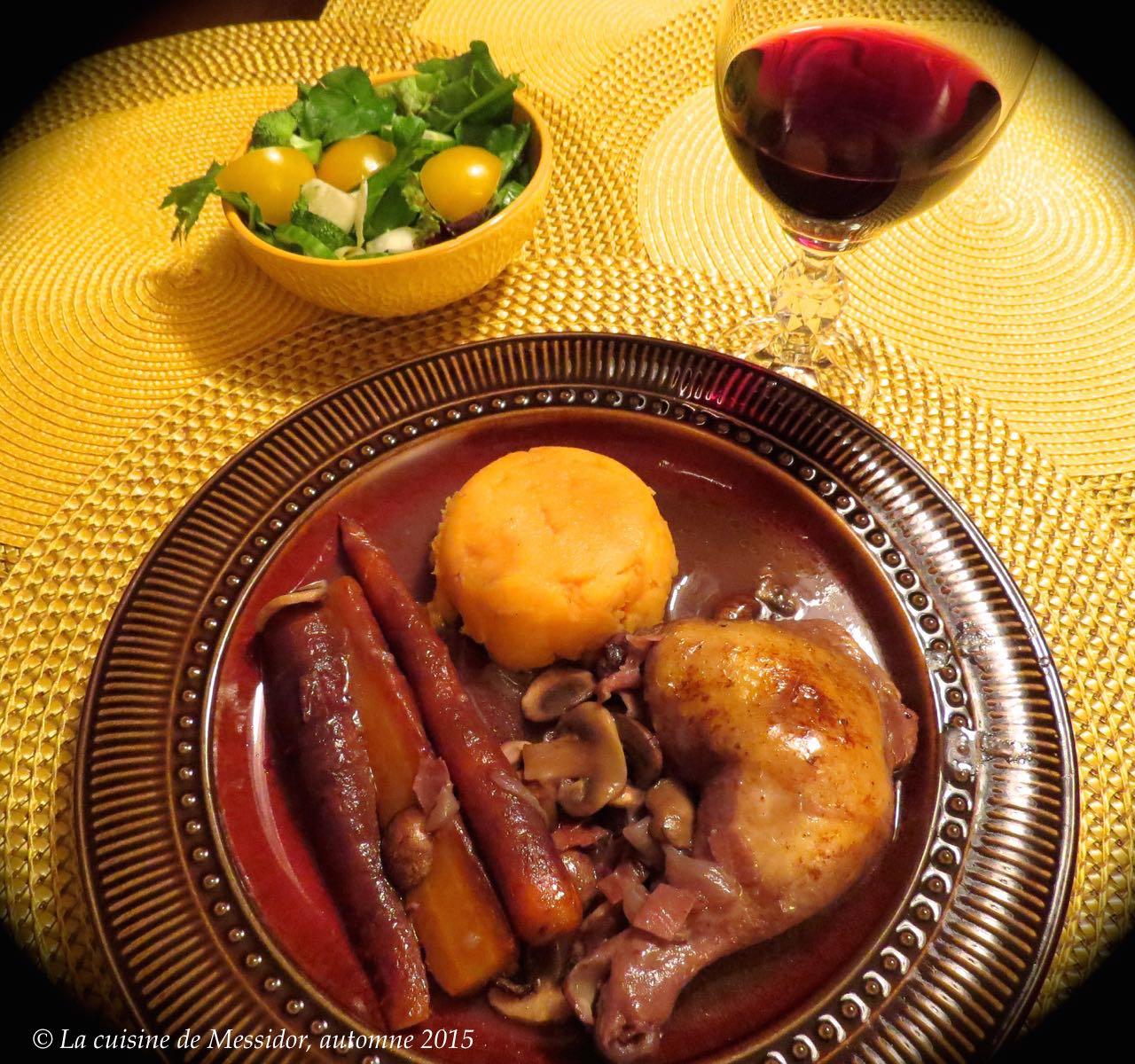 la cuisine de messidor poulet brais au vin rouge. Black Bedroom Furniture Sets. Home Design Ideas