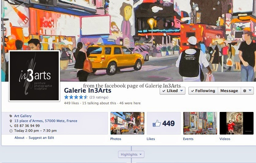Facebook page of Galerie In3Arts