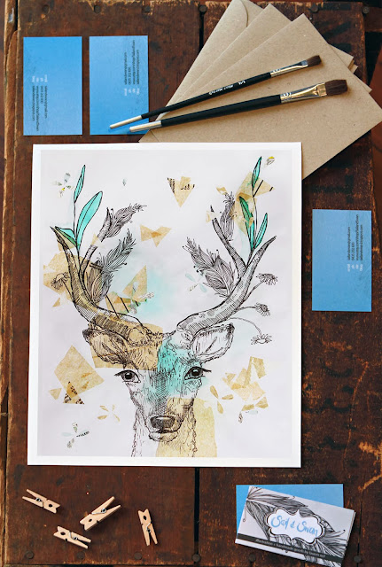 deer illustration animal drawing art print sail and swan