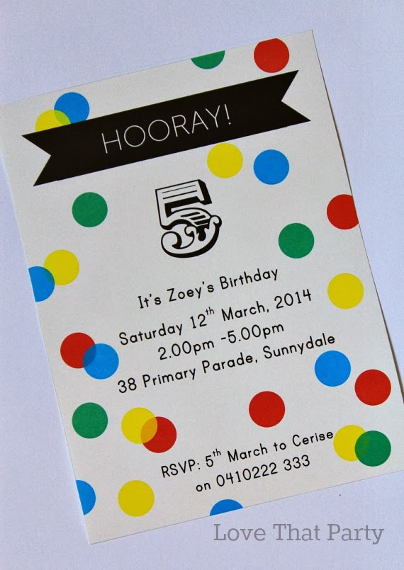 Polka-dot Confetti Printable Kid's Party Invitations by Love That Party. http://lovethatparty.bigcartel.com/products
