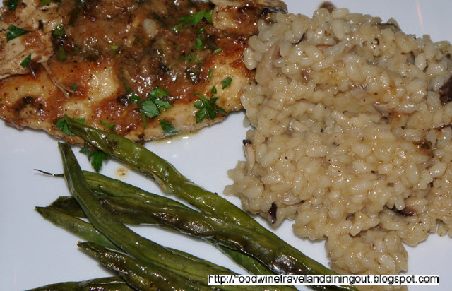 ... lemon chicken with brown butter lemon sauce, Shiitake mushroom risotto