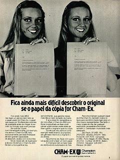 propaganda papel Cham-Ex - 1975.  década de 70. os anos 70; propaganda na década de 70; Brazil in the 70s, história anos 70; Oswaldo Hernandez;