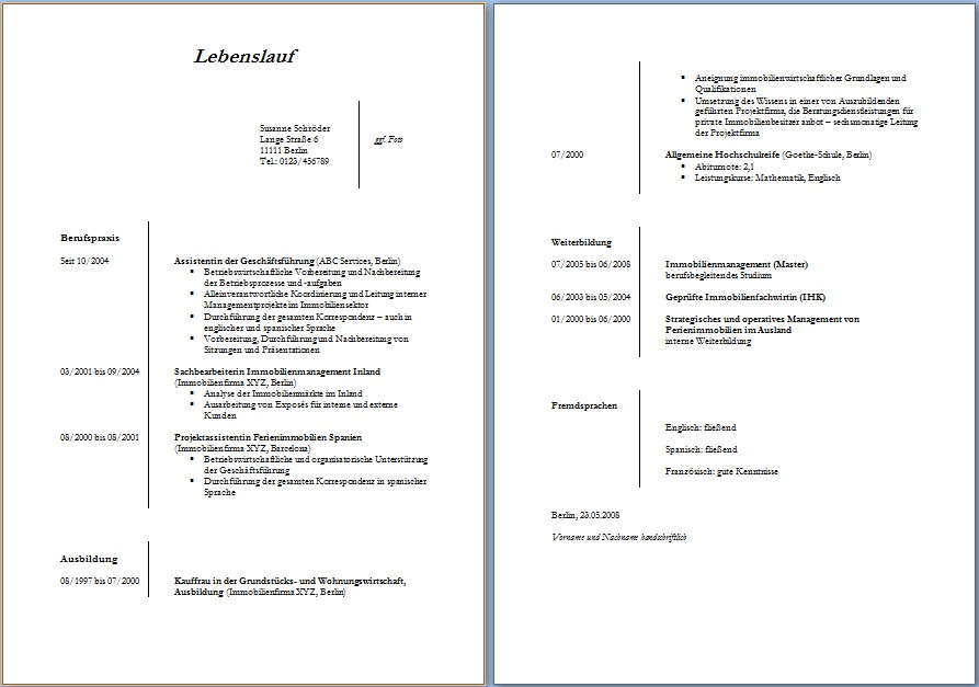 Lebenslauf Vorlage Word Dokument Blogs
