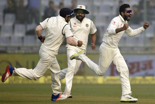 Ravindra Jadeja sets off on a celebratory run after taking the wicket of Hashim Amla. (Vipin Kumar/HT Photo)