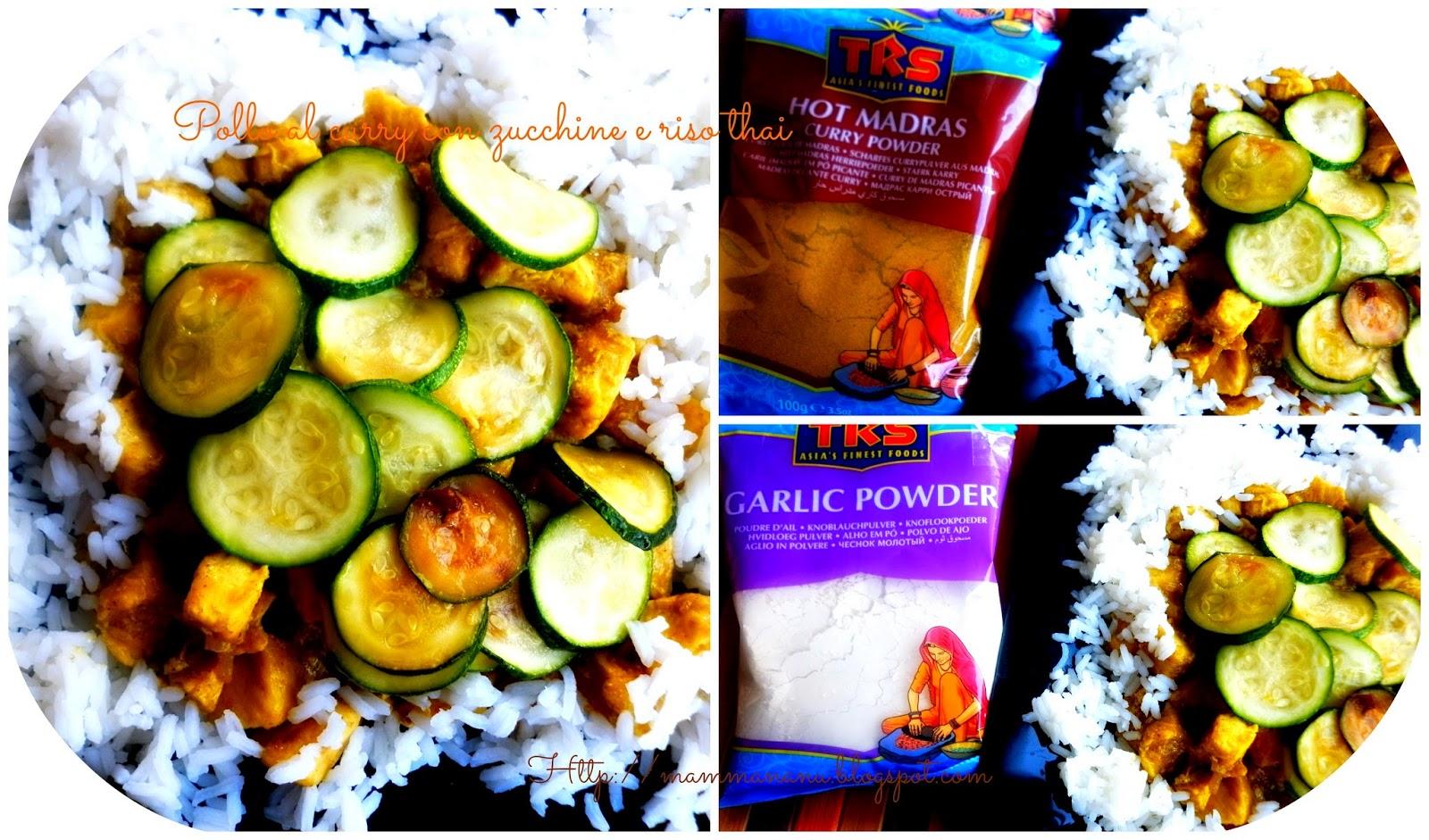 pollo al curry con zucchine e riso thai